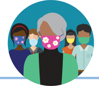 Illustration of people wearing masks